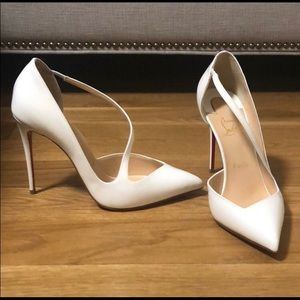 White strappy closed toe Christian louboutin